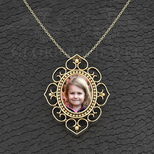 Floral Photo frame pendant available in Gold 18K, Gold 14K and Silver