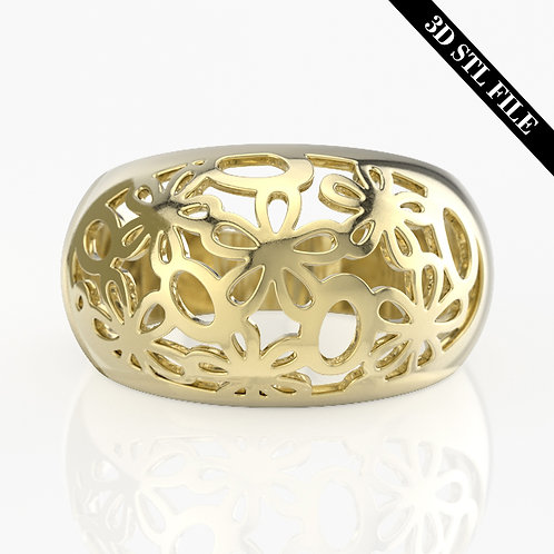 3D STL Flower ring with out stone in 5 ring sizes ready for 3D printing