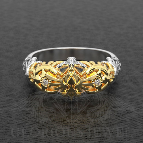 Zelda inspired ring Triforce Hyrule with real diamonds