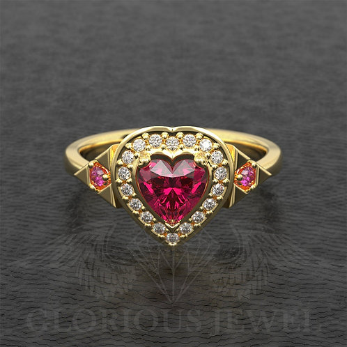 Zelda inspired Heart container ringwith natural Ruby/Garnet &real Diamonds