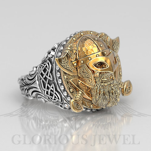 Handmade Viking ring Available in solid Gold 14K, 18K, Silver925, Brass, Bronze