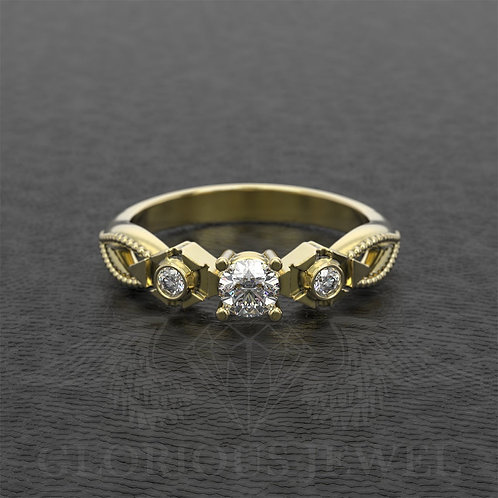 Zelda Triforce Navy inspired Ring with real Diamonds