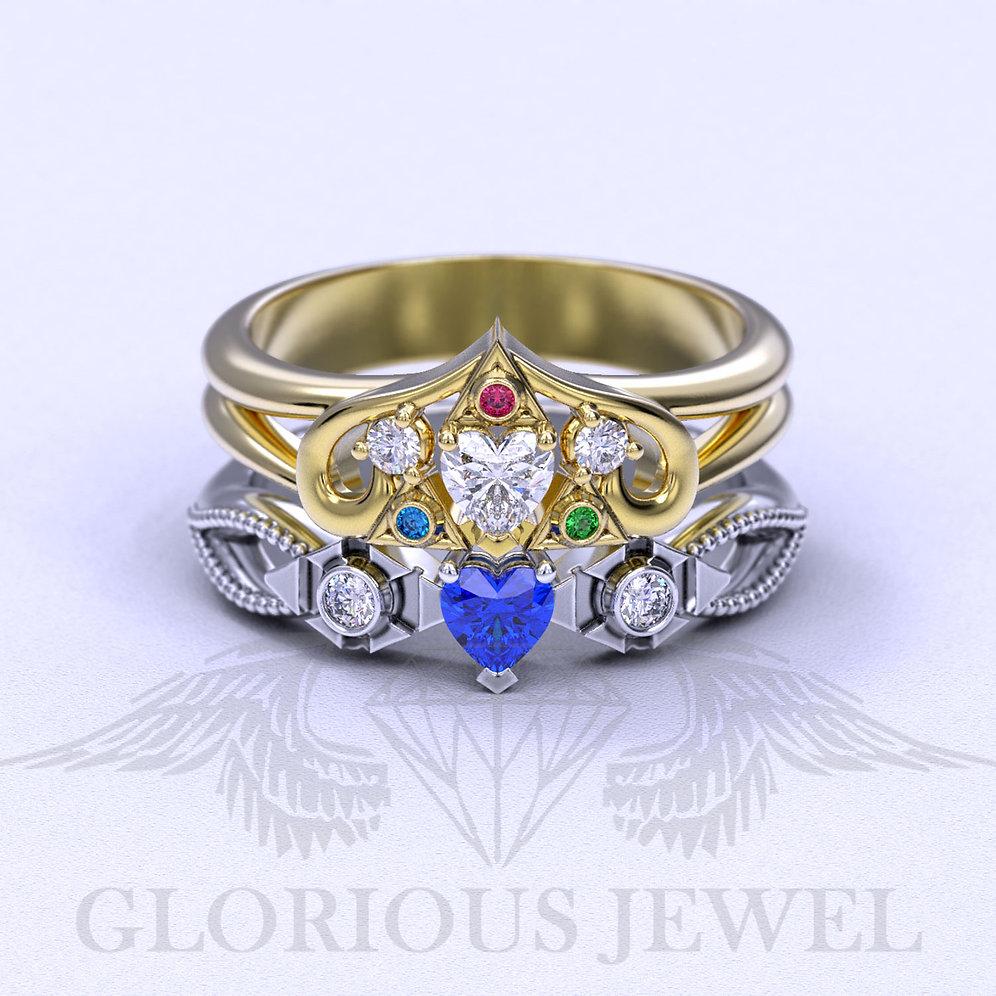 Nerdy Wedding Rings.Zora Sapphire Spiritual Stone Engagement Promise Wedding Ring 8