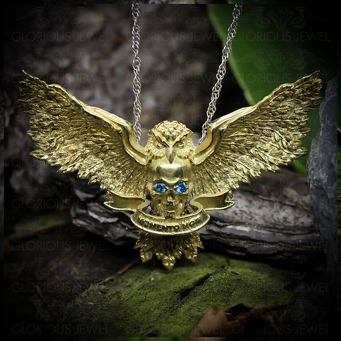 MOMENTO MORI • Owl Skull pendant • Biker Pendant • Silver 925 • Gold 14K