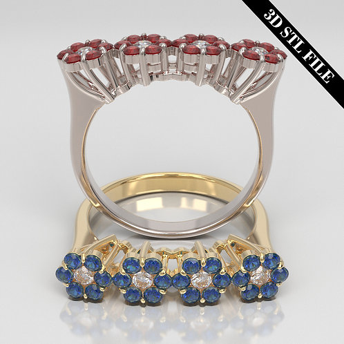 3D STL Flower ring with Diamond in 4 ring sizes ready for 3D printing