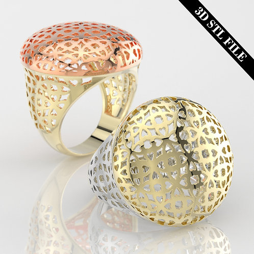 3D STL Heart Net ring in 4 ring sizes ready for 3D printing & Manufacture