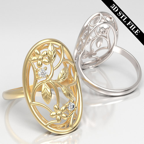 3D STL Flower ring in 4 ring sizes ready for 3D printing & Manufacturing