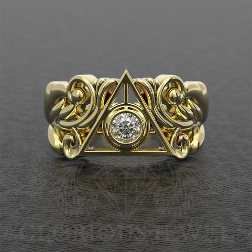 Triangle ring with stone and floral design available in Silver, Gold 14K and 18K