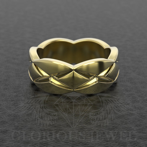 9mm wide Wedding band available in Silver, Gold 14K and Gold 18K, Handmade jewel