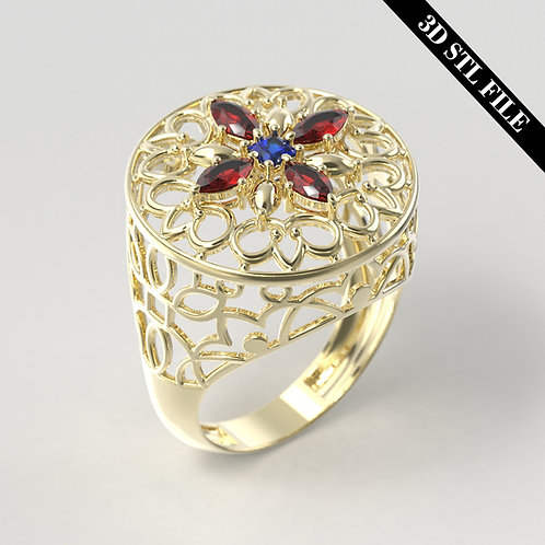3D STL Eslimi Flower Wire ring with Diamond 4 ring sizes ready for 3D printing