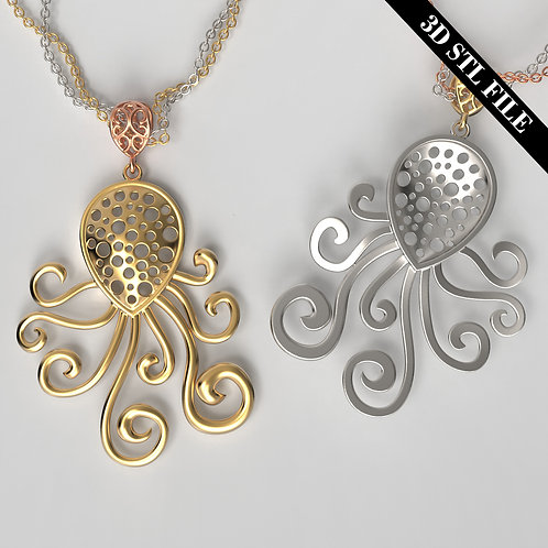 3D STL Octopus Pendant ready for 3D printing & manufactureing