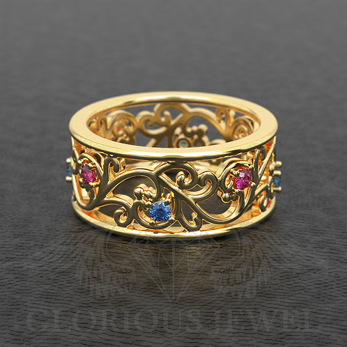 Flower wedding ring, Flower wedding band, Floral wedding ring, Flower gold ring