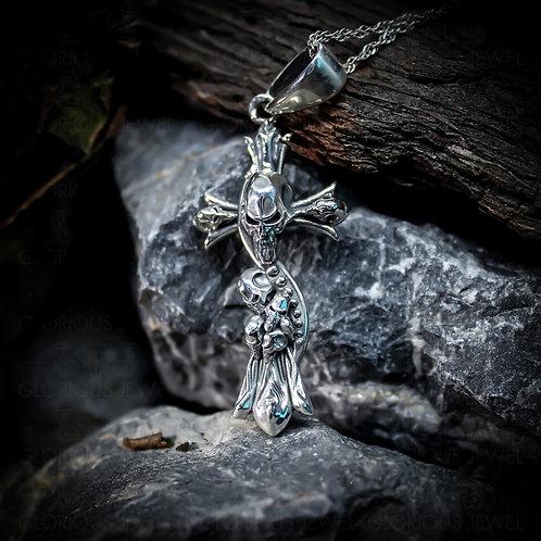 Cross Skull Necklace | Antique Silver Skull | Silver Skull Pendant | Skull