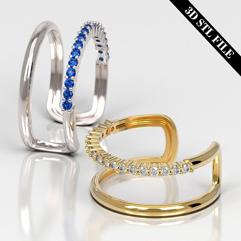 3D STL Engagement ring with Diamond 4 ring sizes ready for 3D printing