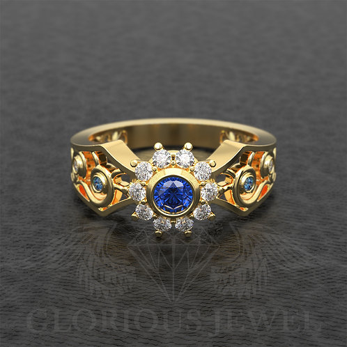 Engagement Flower ring with Zirconia stones available in Silver 925, Gold 14K