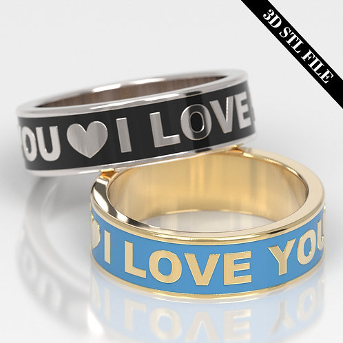 3D STL I LOVE YOU ring with Enamel in 5 ring sizes ready for 3D printing