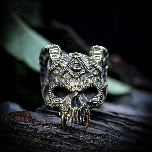 Mason ring • Sugar Skull • Biker ring • Devil ring • masonic ring • free mason