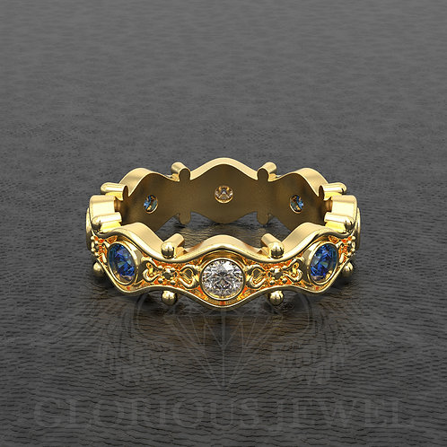Gold 18K custome made Floral Engagement ring & Wedding band with Cubic Zirconia