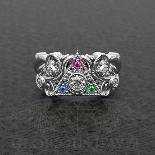 """Legend Cosplay Ring with center """"Si"""" Diamond and around CZ stones"""