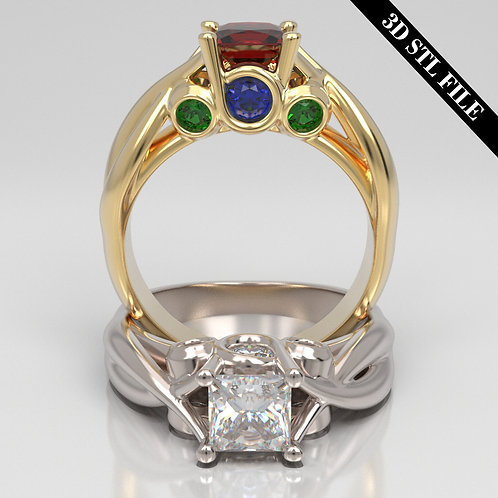 3D STL Engagement ring with Diamond in 4 ring sizes ready for 3D printing