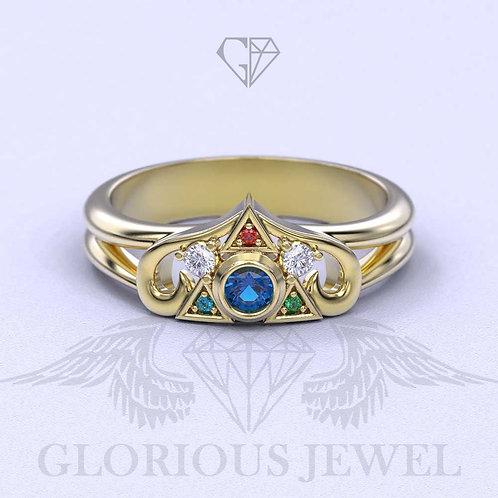 Crest Heart Zelda, Triforce Zora, Spiritual Stone, Engagement, Zelda ring, Weddi