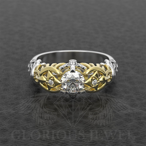 Zelda inspired ring with 6mm Moissanite center stone and real diamonds