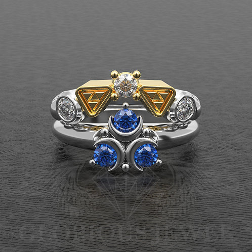 Zelda inspired Ring, Band and Matching band, Geeky Silver Engagement Ring