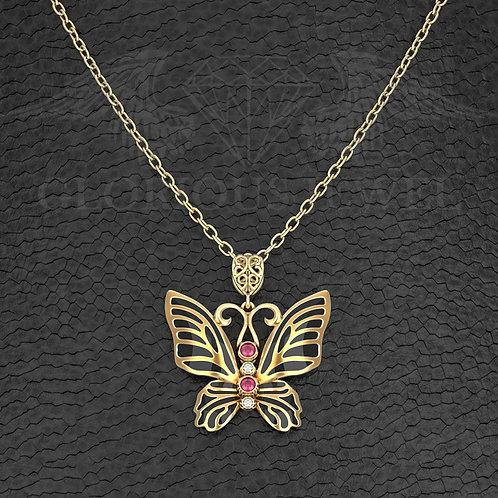 Butterfly pendant, Big pendant, Animal pendant, Silver 925, Gold 14K, Gold 18K