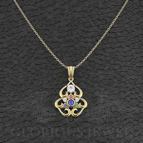 Gold 18K Triforce inspired Pendant Breath of the wild with CZ stones