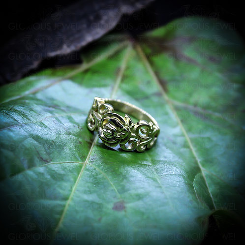 Wedding Flower band, Silver ring, Flower ring, Marriage ring, Promise ring