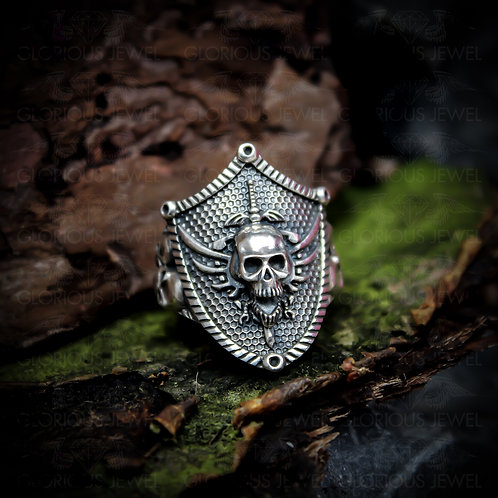 Shield Skull, Biker ring, Skull biker ring, Skull ring, Death, Unique mens ring