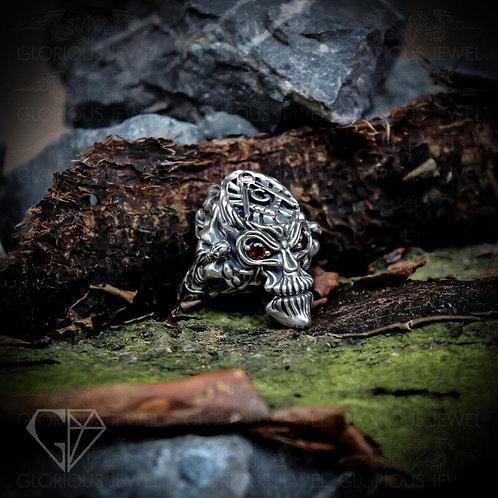 Freemason Skull Ring, 925 Silver Masonic Ring, Knights Templar Jewelry Freemason