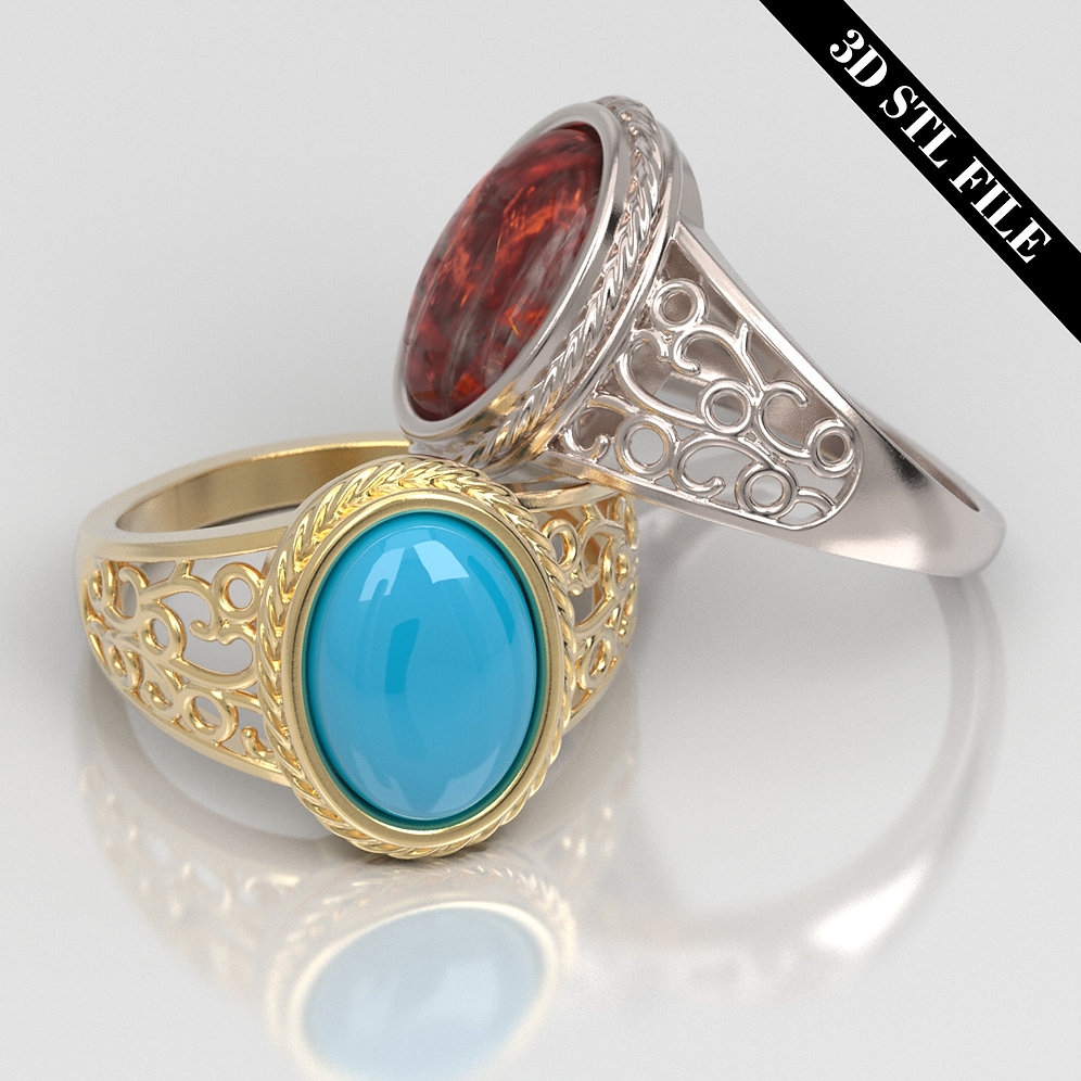 3D STL Persian Wire ring with Cabochon 4 ring sizes ready for 3D printing