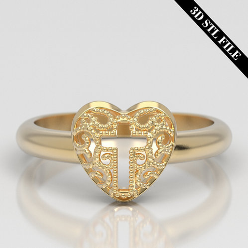 3D STL Heart Cross Wedding ring in 4 ring sizes ready for 3D printing