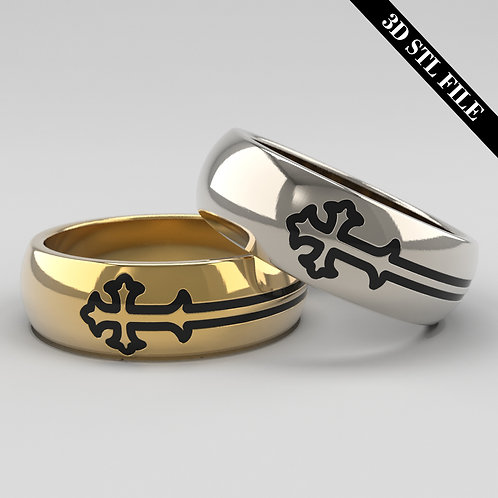 3D STL Cross Wedding ring in 4 ring sizes ready for 3D printing