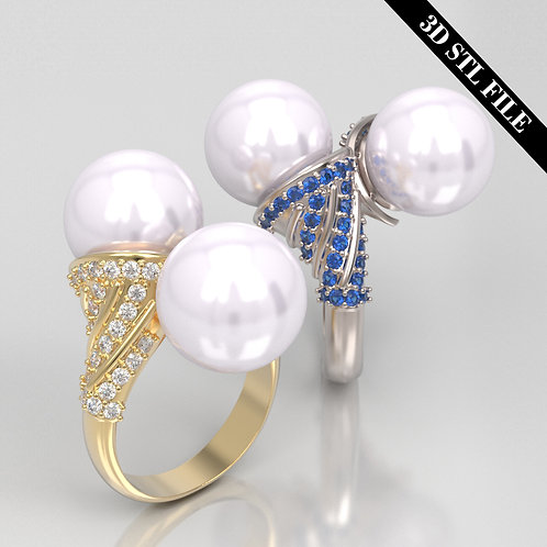 3D STL Pearl ring with Diamond 4 ring sizes ready for 3D printing