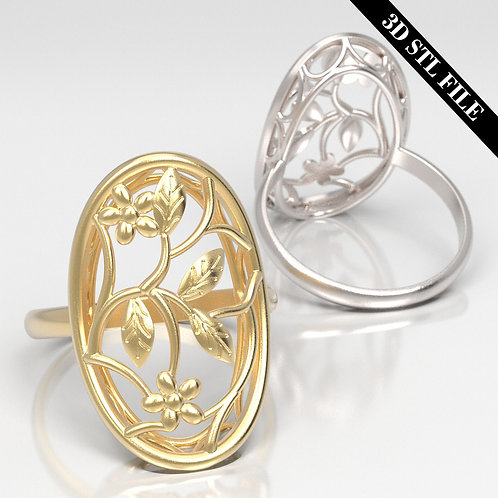 3D STL Flower Engagement ring in 5 ring sizes ready for 3D printing
