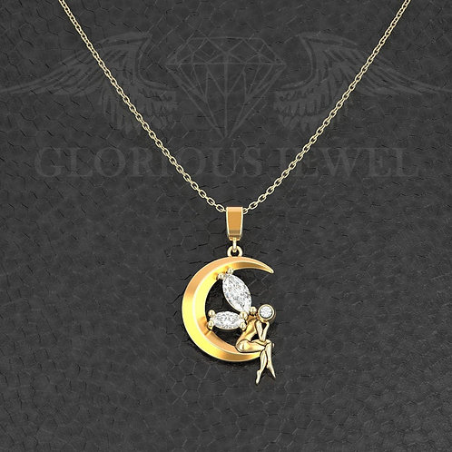 Fairy and Moon pendant, Moon Fairy necklace, Angel and the moon, Angel Fairy