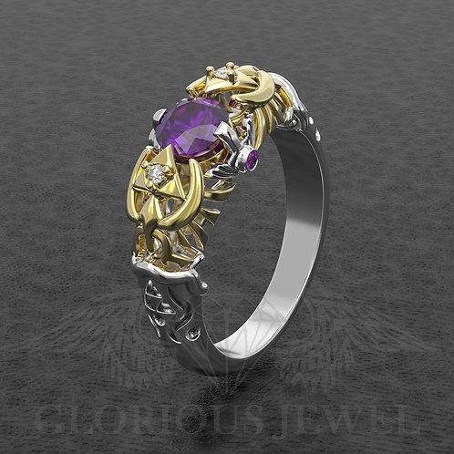 Zelda inspired ring Breath of the wild with CZ Amethyst stone, Legend of zelda