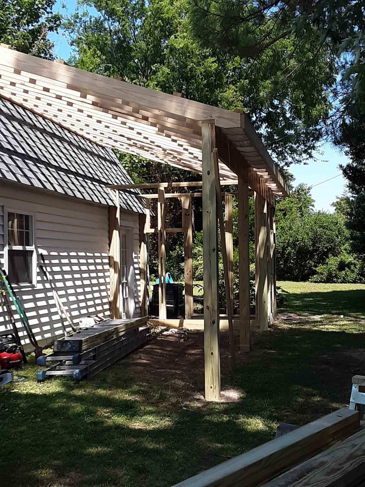 Framing for Carport & Greenhouse