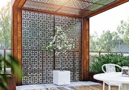 A simple, frosted glass deck railing is completely transformed with the addition of this striking partition screen.