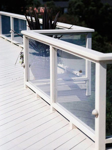 Add a modern touch and take up little visual real estate with a simple plexiglass rail option, framed by white wood.