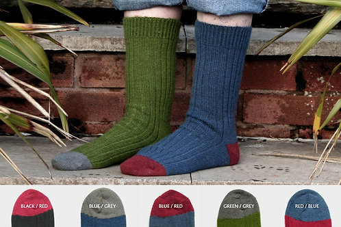 Alpaca Contrast Ribbed Socks