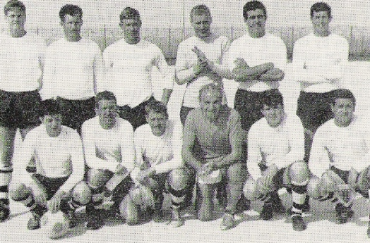 1969 Sir Stanley Mathews pictured with Y Company's soccer team in Malta