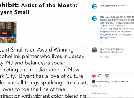 Casa Colombo awards past resident Bryant Small Artist of The Month!