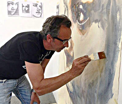 Past Resident Luis Bivar Setting Up Studio by Jersey Shore.