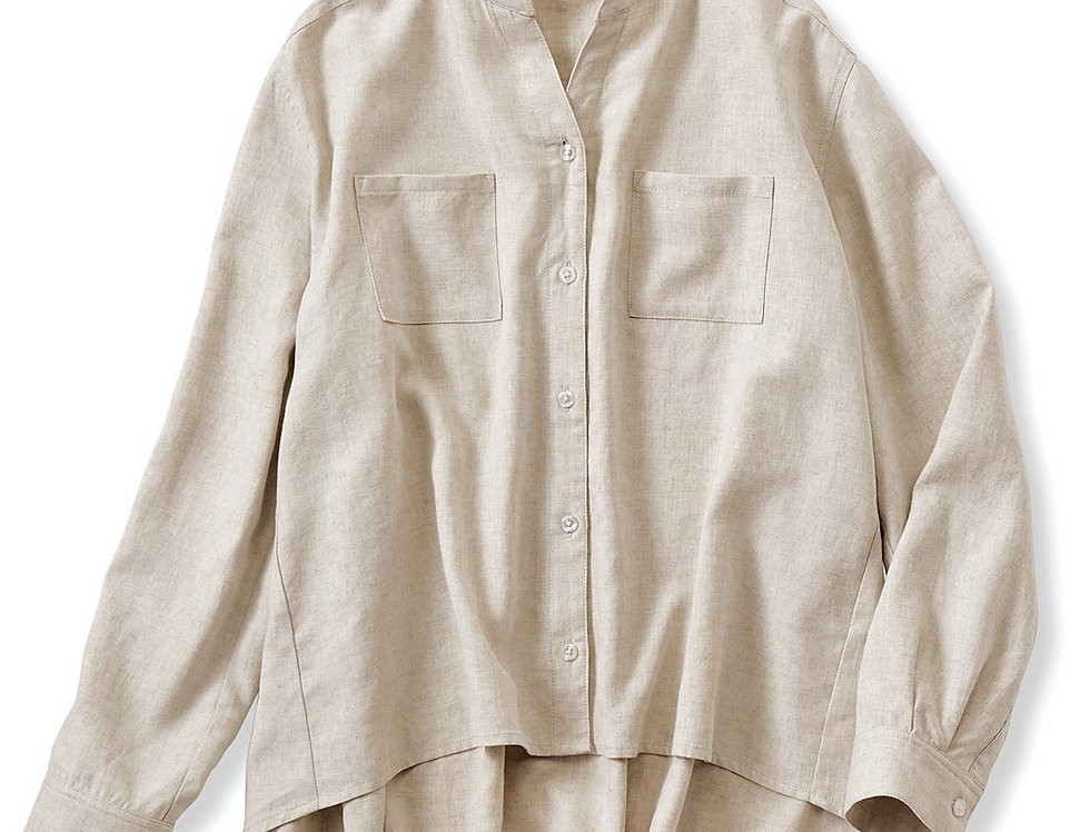 חולצת בלנד פשתן - בז׳