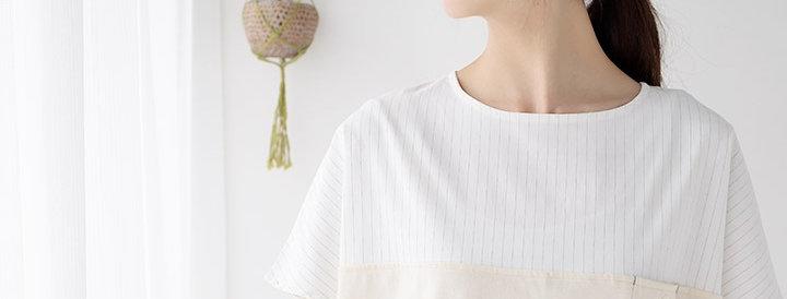 Color-switching pullover (stripe fabric x Kinari)
