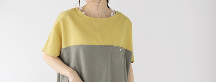Color-switching pullover (yellow fabric x khaki)