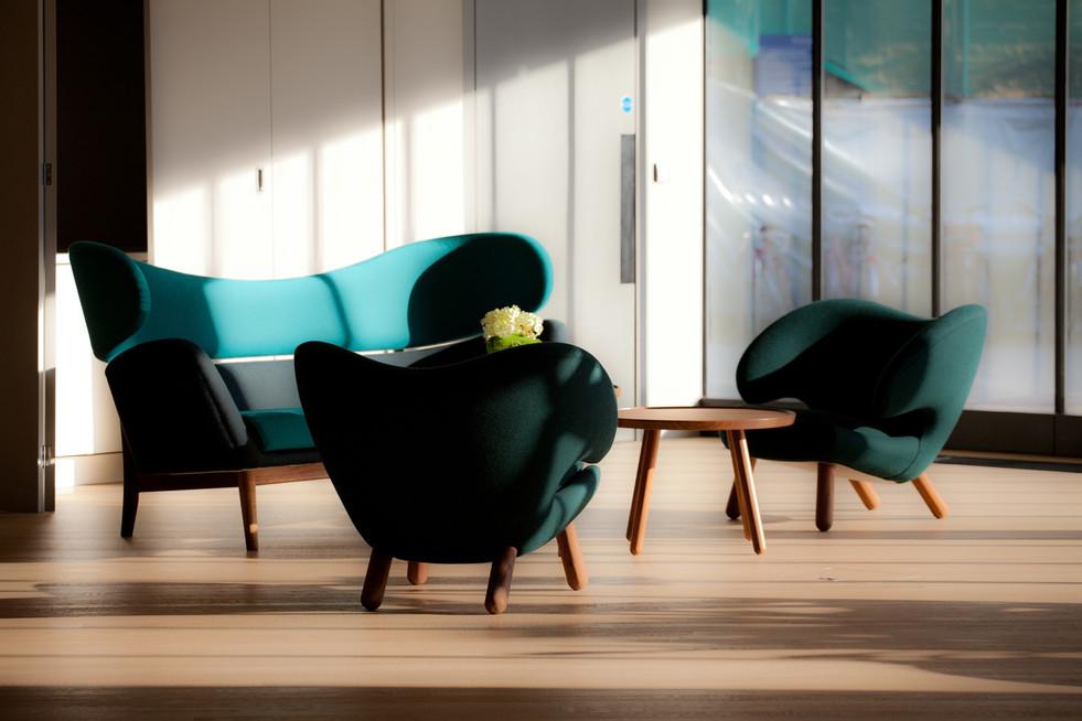 Pelican Chair, Baker Sofa, fabric, blue,